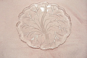 Crystal Pattern Glass Tree Design Divided Dish