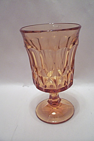Amber Glass Thumbprint Pattern Glass Goblet