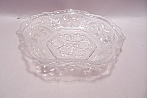 Crystal Floral Pattern Glass 6-sided Candy Dish
