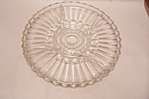 Crystal Pattern Glass 5-compartment Serving Tray