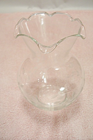 Crystal Art Glass Vase With Incised Floral Motif