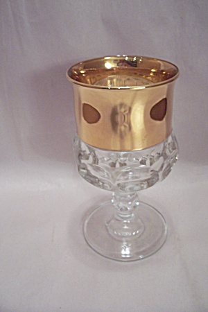 Crystal Pattern Glass Goblet With Gold Top