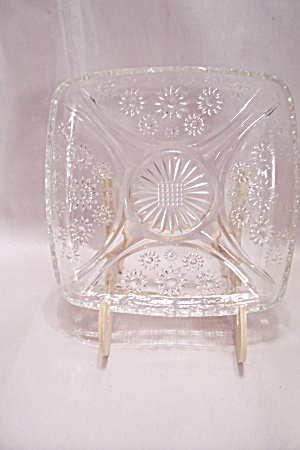 Crystal Daisy Pattern Glass Square Dish
