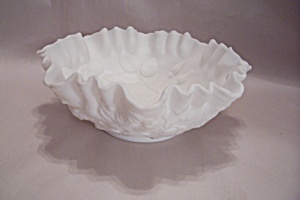 White Imperial Slag Glass Rose Decorated Bowl