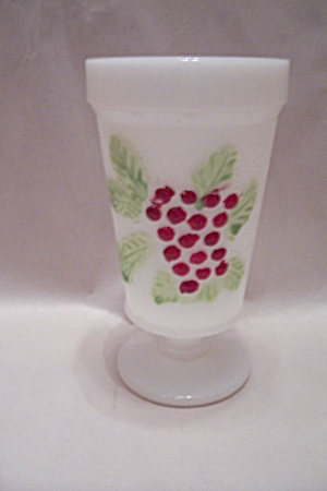 Milk Glass Colored Grape Pattern Goblet