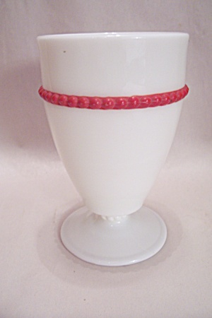Milk Glass Tumbler With Red Trim