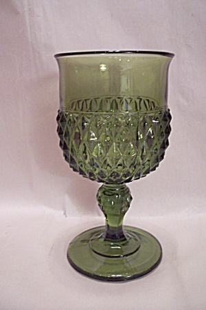 Green Pattern Glass Goblet