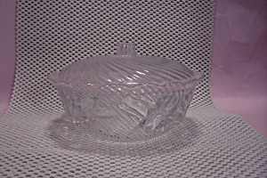 Crystal Pattern Glass Lidded Candy Dish