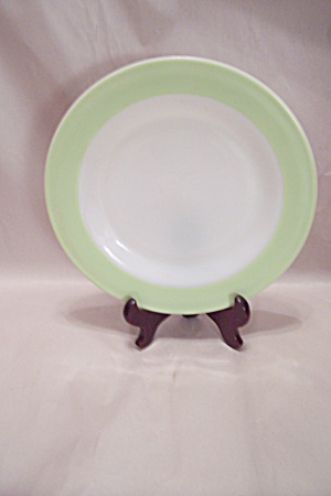 Anchor Hocking Light Green Trimmed Glass Dinner Plate
