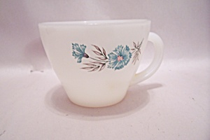 Fire King/anchor Hocking Blue Flower Decorated Cup