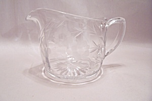 Crystal Glass Incised Flower Motif Creamer