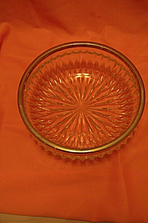 Crystal Pattern Glass Chrome Rimmed Candy Bowl/dish