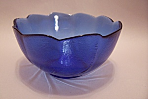Cobalt Blue Swirl Pattern Glass Individual Salad Bowl