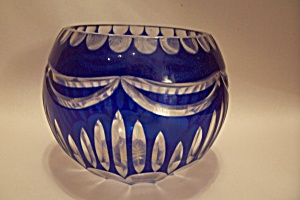 Cobalt Blue Glass Cut To Clear Bowl