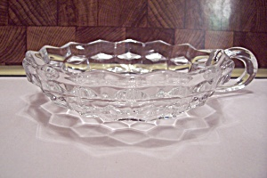 Fostoria American Pattern Crystal Glass Handled Nappy