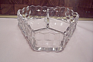 Fostoria American Pattern Glass 3-part Candy Box
