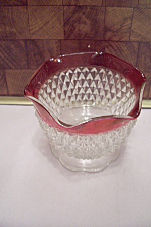 Diamond Point Ruby Flashed Crystal Footed Sugar Bowl (Image1)