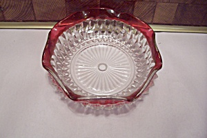 Diamond Point Ruby Flashed Crystal Glass Ash Tray (Image1)