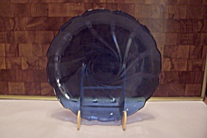 Cobalt Blue Glass Swirl Pattern Snack Plate