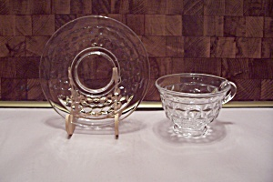Fostoria American Pattern Crystal Glass Cup & Saucer