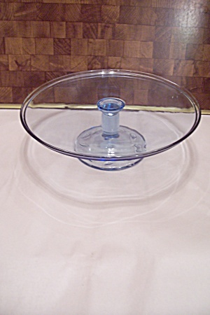 Crystal & Blue Tinted Glass Pedestal Cake Stand