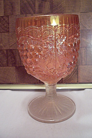 Grape Pattern Orange Carnival Glass Goblet