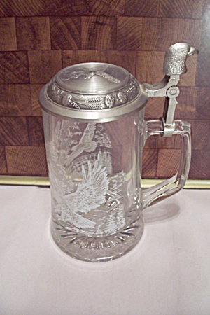 Eagle Design Glass Pewter Lidded Beer Stein
