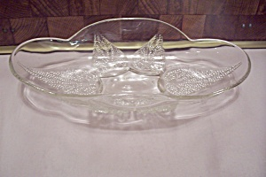 Crystal Pattern Glass Oval Leaf Decorated Bowl