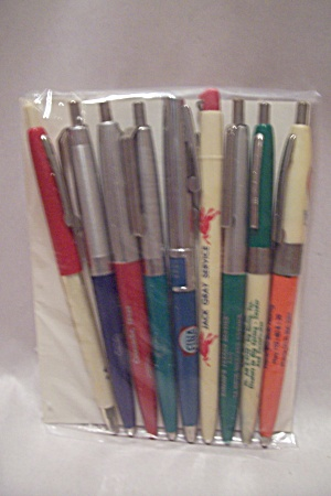 Set Of 9 Advertising Ballpoint Pens For Gas Stations