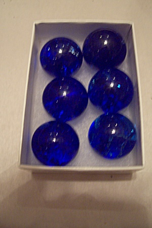 Set Of 6 Large Handmade Cobalt Blue Marbles