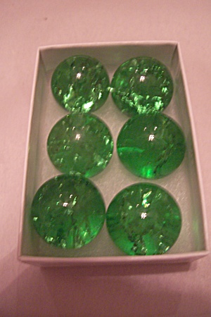 Set Of 6 Handmade Large Green Marbles