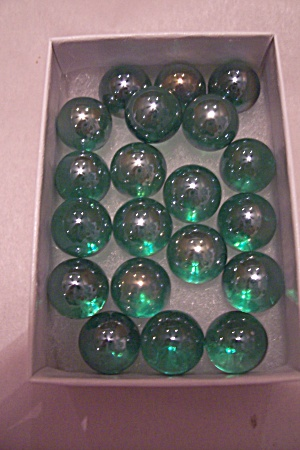 Set Of 20 Small Handmade Green Carnival Glass Marbles