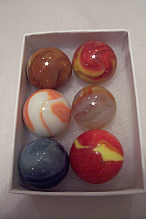 Set Of 6 Different Large Vintage Marbles