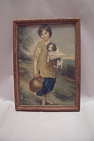 Little Italian Boy And His Dog Framed Art Print