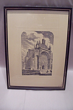 Framed Spanish Cathedral Engraving Print