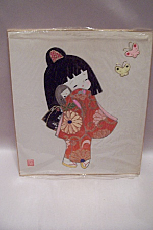 Little Japanese Girl With Doll Mixed Media Collage