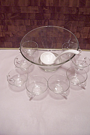 Crystal Glass Footed Punch Bowl Set With Eight Cups
