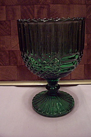 Green Pattern Glass Pedestal Bowl/comport