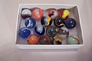 Lot Of 16 Vintage Glass Marbles