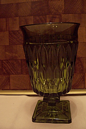 Green Pattern Glass Pedestal Vase