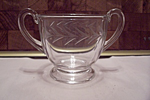 Crystal Glass Incised Footed Sugar Bowl