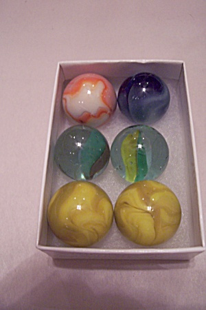 Lot Of 6 Large Glass Marbles