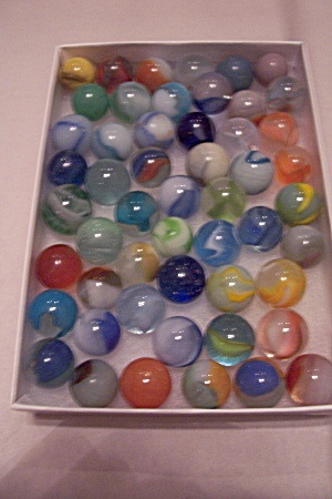 Lot Of 54 Assorted Glass Marbles.
