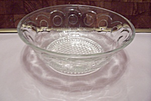 Crystal Thumbprint & Hobnail Pattern Glass Salad Bowl