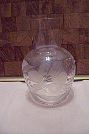 Crystal Art Glass Floral Decorated Vase