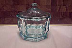Aqua Glass Liddfed 8-sided Candy Dish
