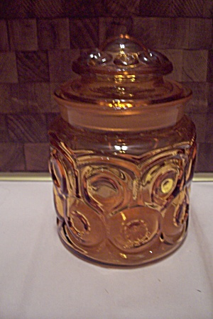 L. G. Wright Moon & Star Pattern Amber Glass Canister