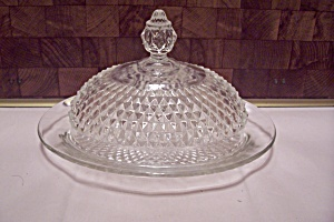 Crystal Glass Diamond Point Pattern Lidded Butter Dish
