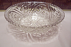 Anchor Hocking Thousand Line Crystal Glass Serving Bowl