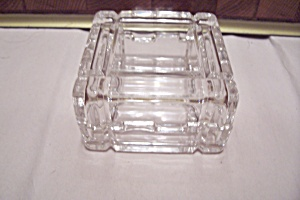 Crystal Glass Square Art-deco Style Trinket Storage Box